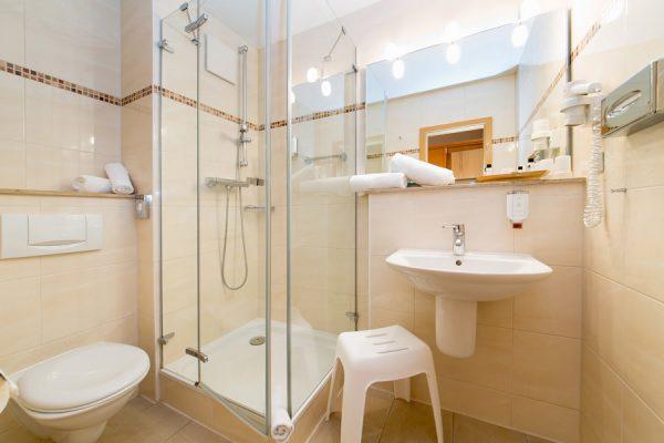 Zimmer im Ostseebad Binz auf Rügen – Bad mit Dusche im Centralhotel