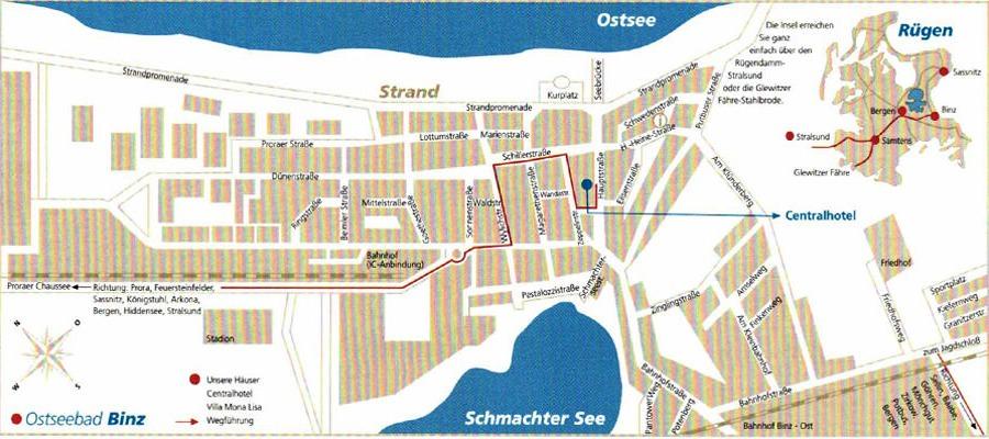 Anfahrt zum Centralhotel Binz auf der Insel Rügen an der Ostsee