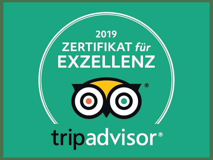 Zertifikat von Tripadvisor für Exzellenz 2019